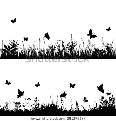 silhouettes grass and twigs of plants with butterflies. vector illustration - stock vector