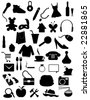 Silhouettes items - shopping, web, accessories objects - stock vector