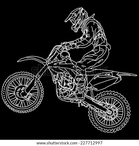 silhouettes Motocross rider on a motorcycle. Vector illustrations. - stock vector