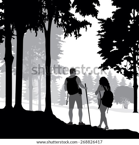 Silhouettes of a couple walking in the forest. Vector illustration - stock vector