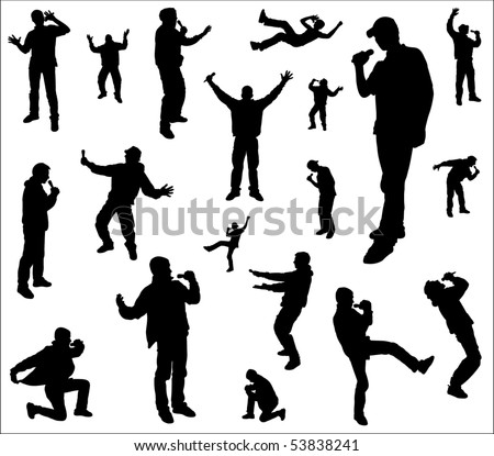 Silhouettes of a dancing and singing men. - stock vector