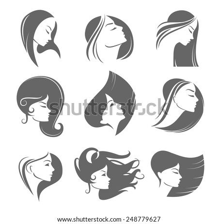 Silhouettes of a girl in profile with long hair - stock vector
