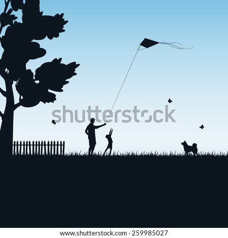 Silhouettes of a happy family of the child and the father with kite on blue background, illustration. - stock vector