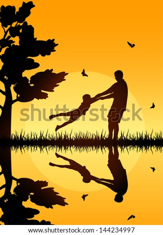 Silhouettes of a happy family of the father and the child, illustration. - stock vector