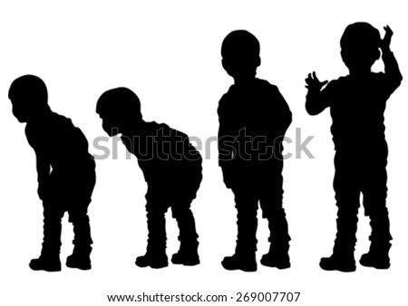 Silhouettes of a little boy on a white background - stock vector
