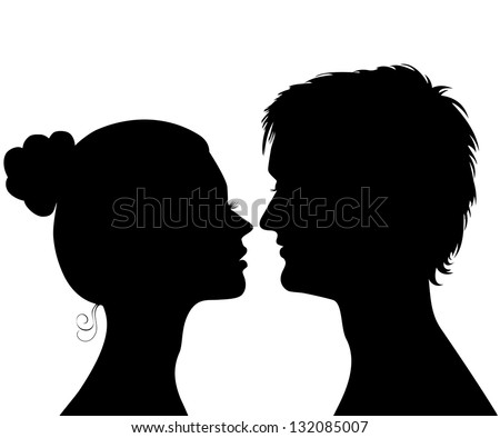 Silhouettes of a profile of a head of the young man and the girl - stock vector