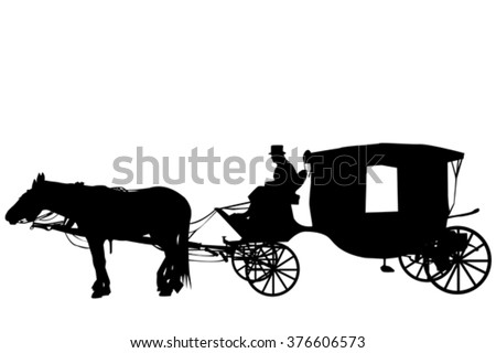 Silhouettes of a vintage carriage with coachman  - stock vector