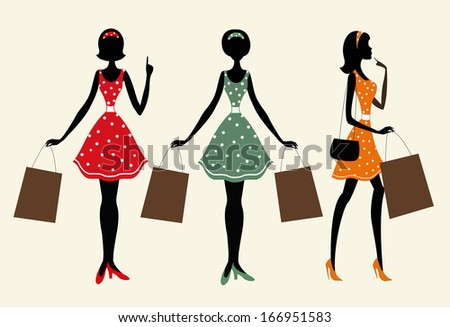 Silhouettes of a women with shopping bags. One of them is with her finger up. Vintage style. - stock vector