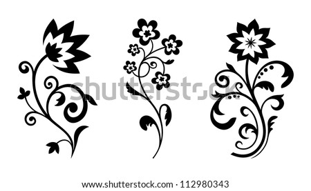 Silhouettes of abstract vintage flowers. Vector floral elements for art design - stock vector