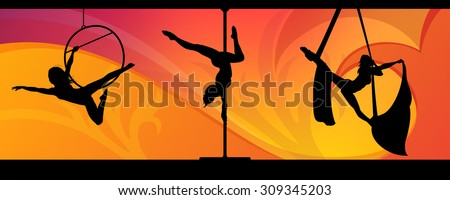 Silhouettes of aerial hoop and aerial silks performers and pole dancer on abstract background. Aerialists. Air gymnastics. Gymnasts. - stock vector