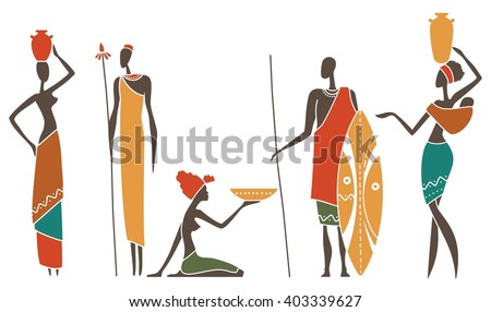Silhouettes of African men and women intraditional clothing - stock vector
