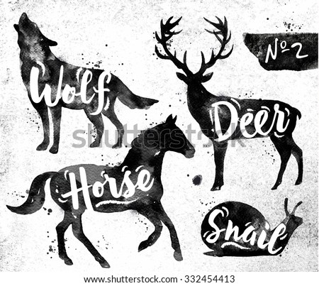 Silhouettes of animal deer, horse, snail, wolf drawing black paint on background of dirty paper - stock vector