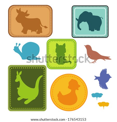 Silhouettes of  animals - stock vector