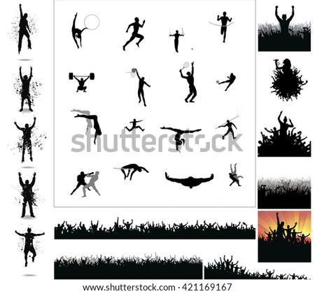 Silhouettes of athletes and posters with cheering fans - stock vector