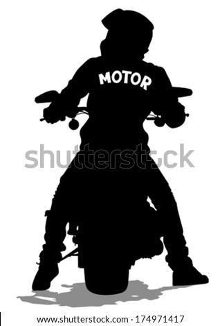 Silhouettes of big motorcycl and people - stock vector