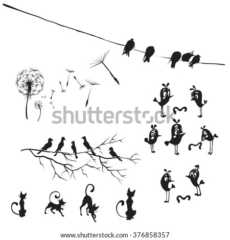 silhouettes of birds and flowers dandelion, birds on wires, vector isolated - stock vector
