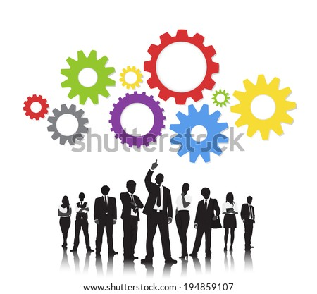 Silhouettes of Business People and Gears - stock vector