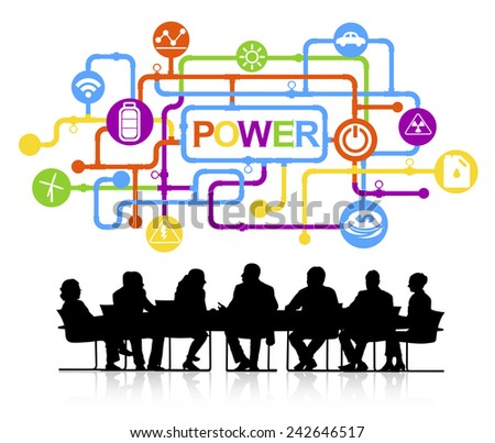 Silhouettes of Business People and Power Concept Vector - stock vector