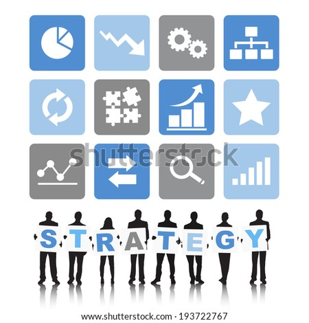 Silhouettes of Business People and Strategy Concept - stock vector