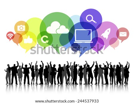 Silhouettes of Business People Arms Raised and Social Media Concepts - stock vector
