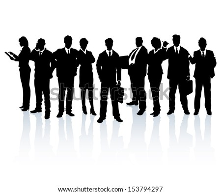 Silhouettes of business people forming a team. - stock vector