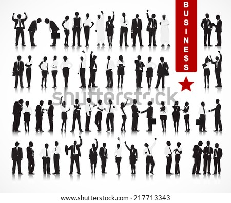 Silhouettes of Business People in a Row - stock vector