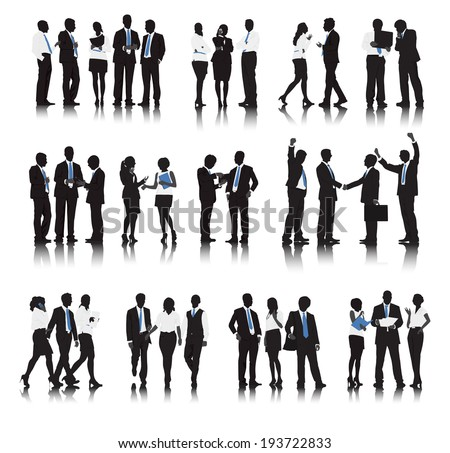 Silhouettes of Business People in a Row Working - stock vector