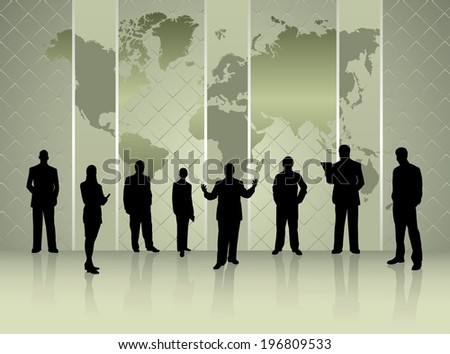 silhouettes of business people with world map conference concept- vector eps10 - stock vector