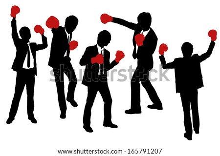 Silhouettes of Businessmen wearing boxing gloves in a victory pose - stock vector