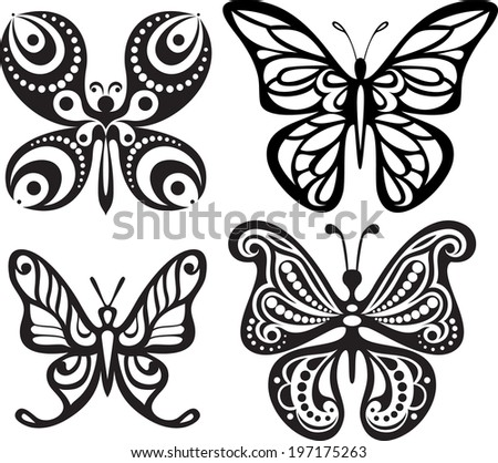 Silhouettes of butterflies with open wings tracery. Black and white drawing. Dining decor. - stock vector