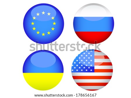 Silhouettes of button with flags of Ukraine and Russia - stock vector