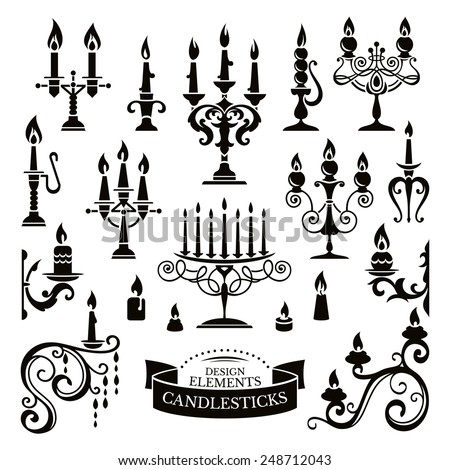 Silhouettes of candlesticks vector illustration - stock vector