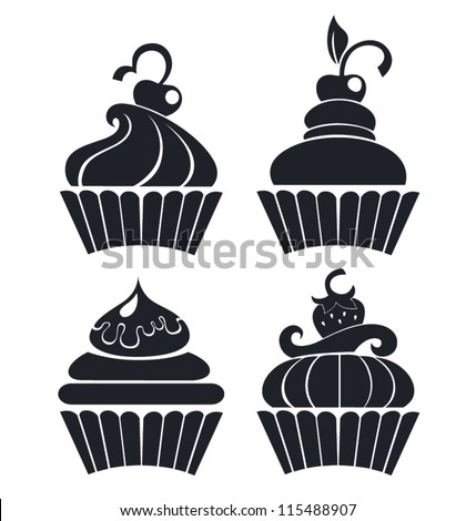 silhouettes of cartoon cupcakes - stock vector