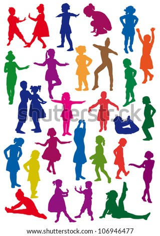 Silhouettes of children at dance, exercises are an aerobics, shaping - stock vector