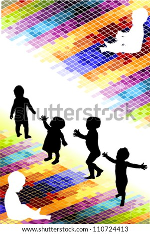 Silhouettes of children on a bright background - stock vector