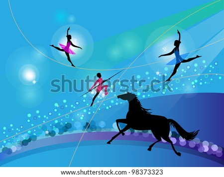 Silhouettes of circus trapeze artists and a horse on an abstract background - stock vector