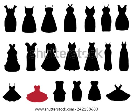 Silhouettes of cocktail dresses, vector illustration - stock vector