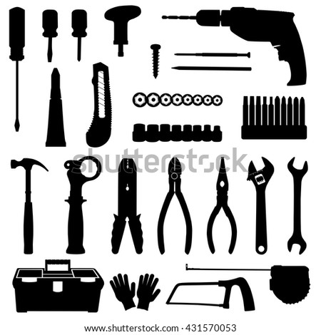 Silhouettes of construction repair tools icons set isolated on white background. Black and white vector illustration - stock vector
