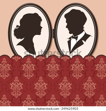 Silhouettes of couples on vintage background with lace. Vector Illustration  - stock vector