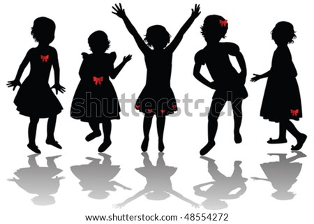 Silhouettes of cute girls wearing red ribbons - stock vector