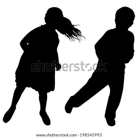silhouettes of dancing boys and girls on white background vector - stock vector