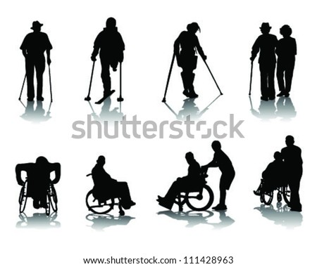 Silhouettes of disabled people-vector - stock vector