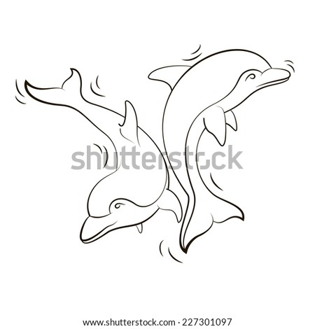 Silhouettes of dolphins. Vector illustration - stock vector