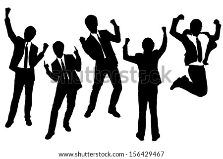 Silhouettes of excited happy Businessmen with white background - stock vector
