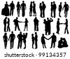 Silhouettes of Falling in love.  Man and woman in love: hug, kiss, hold on to the hands, dance - stock vector