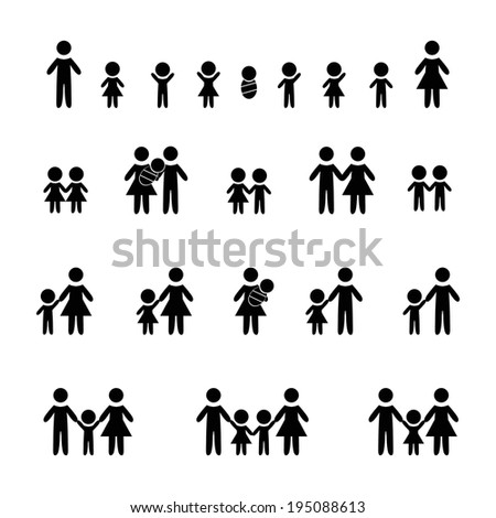 Silhouettes of family, woman, man, children, girl and boy - stock vector