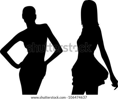 Silhouettes of fashion women - stock vector