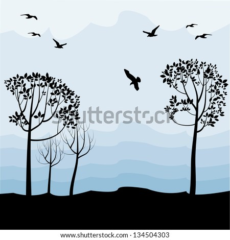 Flying Birds Silhouette Tree Silhouettes of Flying Birds