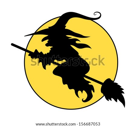 silhouettes of flying witch on broom - Halloween vector illustration - stock vector