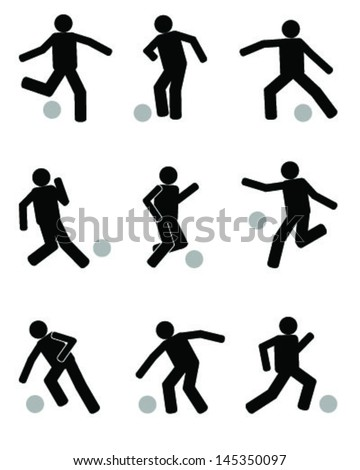Silhouettes of football players-Icon Sign Symbol Pictogram - stock vector